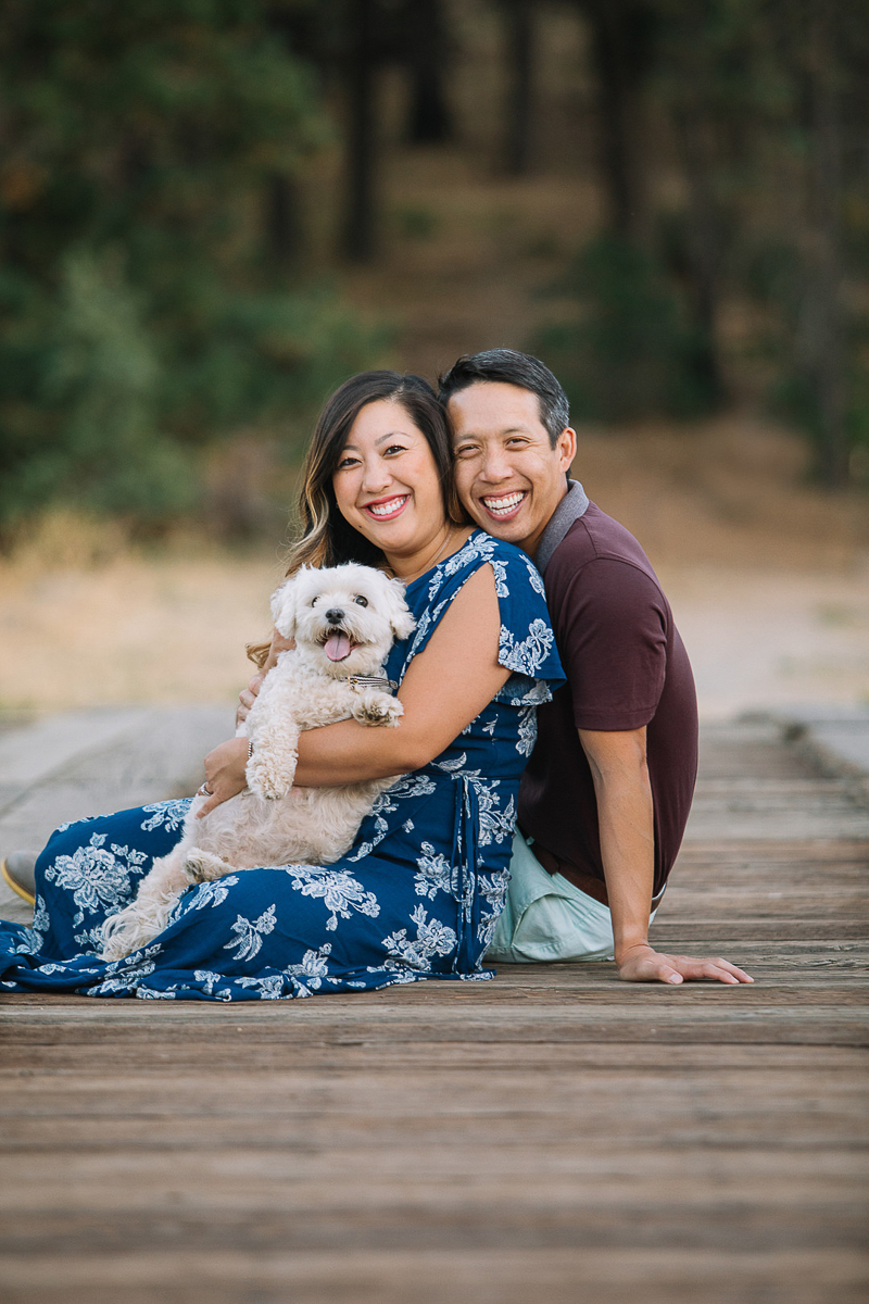 happy couple and their dog, family portraits ©Stephanie Fong Photography Lake Cuyamaca, California