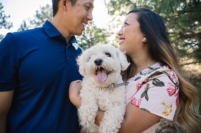 couple holding Maltipoo, dog-friendly engagement Lake Cuyamaca, California ©Stephanie Fong Photography,