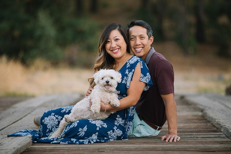 couple and dog on bridge ©Stephanie Fong Photography Lake Cuyamaca, California