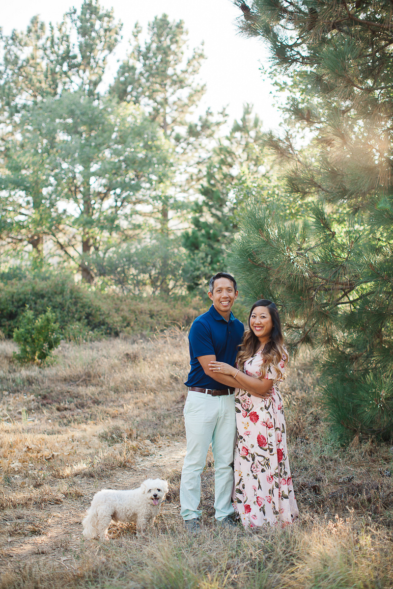 engagement photos with small dog | ©Stephanie Fong Photography Lake Cuyamaca, California