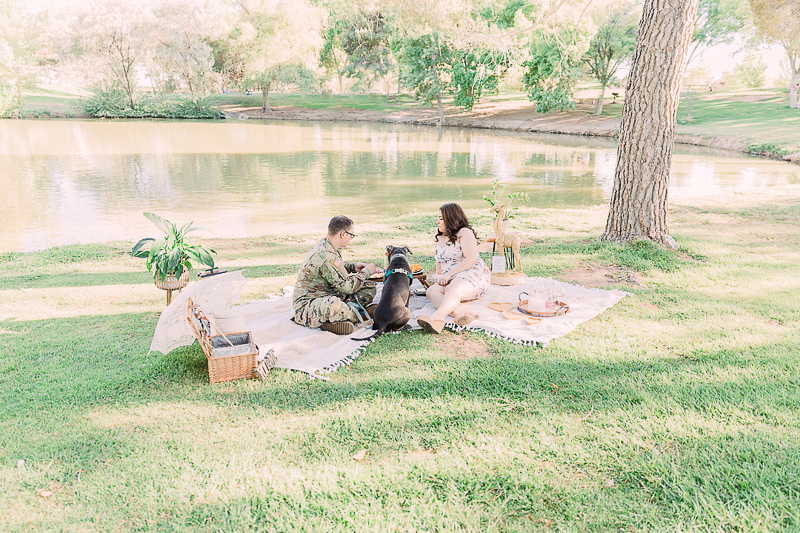 dog-friendly engagement session at a lake | ©Fig + Willow Studios, Las Vegas, NV