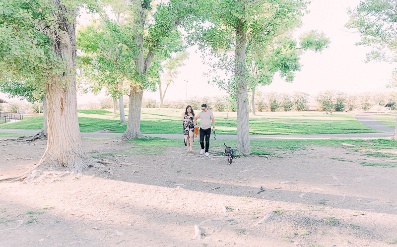 couple holding hands and walking their dog | lifestyle engagement photography ©Fig + Willow Studios