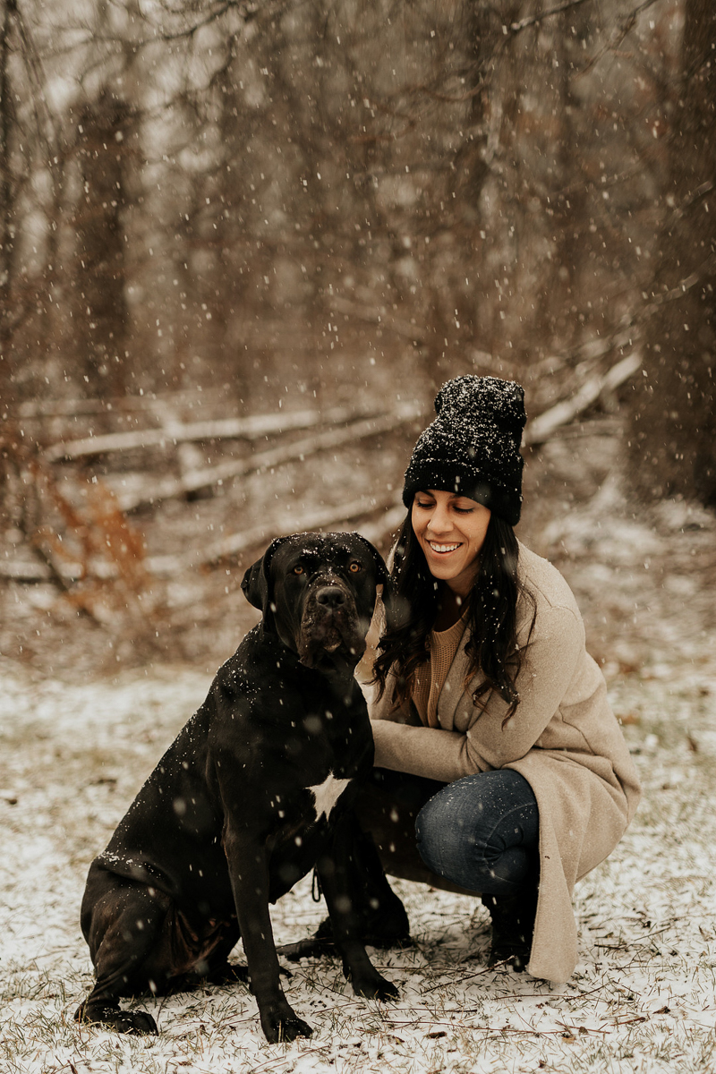 large breed dog with white star on chest and woman in the woods, winter dog portraits | ©Tomo.photography | London, Ontario