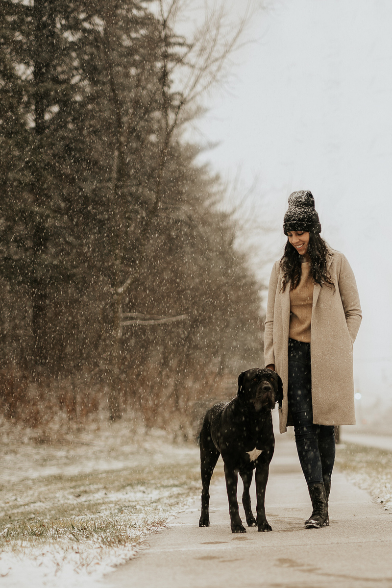 woman and her dog on snowy sidewalk, ©Tomo.photography | London, Ontario