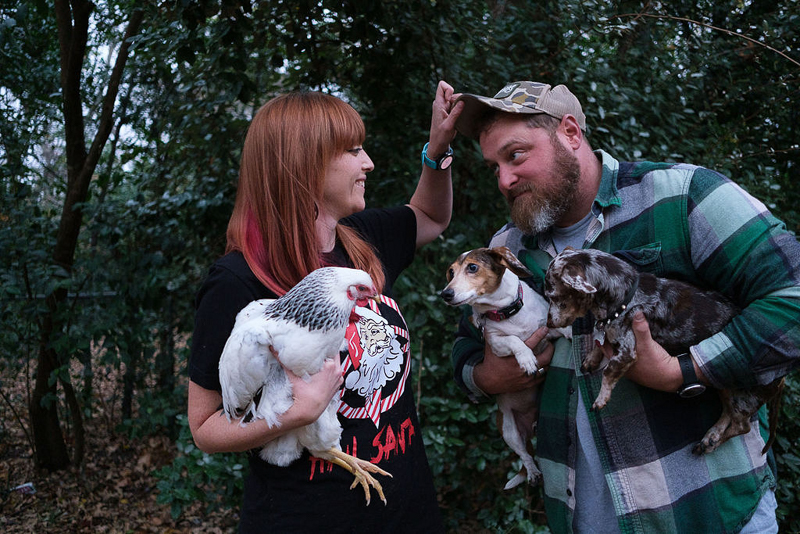 family Christmas portraits with chicken and dogs   © Hallie Sigwing Photography, Denton Texas