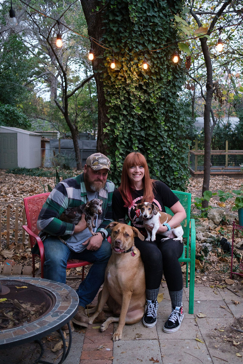 couple and their 3 dogs, family portraits on patio   © Hallie Sigwing Photography, Denton, Texas