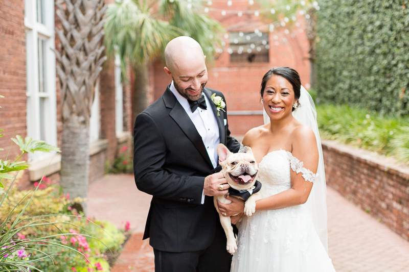 couple holding their French Bulldog, dogs at wedding, © Jessica Hunt Photography