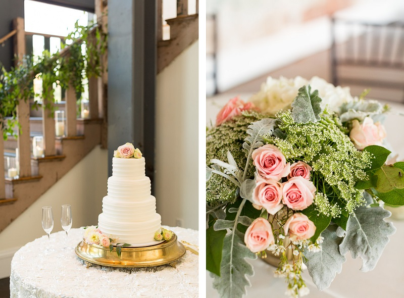 wedding cake and flowers, detail shots, © Jessica Hunt Photography | 701 Whaley, Columbia, SC