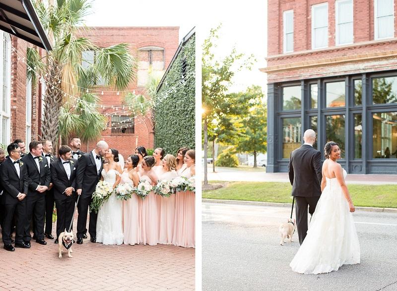wedding party and French Bulldog, dog-friendly wedding photos, © Jessica Hunt Photography | Columbia, SC