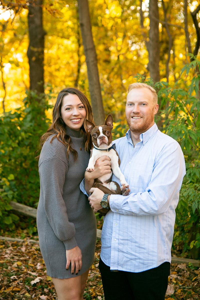 dog-friendly family photos, fall photos with Boston Terrier ©Mandy Whitley Photography, Nashville, TN