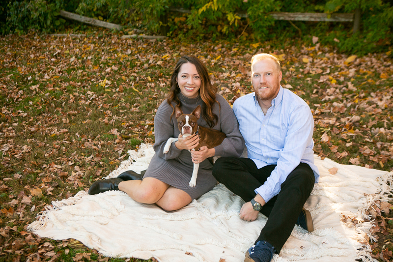 couple sitting on blanket with Boston Terrier   ©Mandy Whitley Photography
