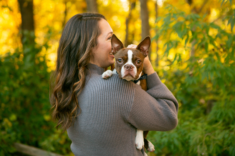 woman holding Boston Terrier puppy, dog photography ideas   ©Mandy Whitley Photography