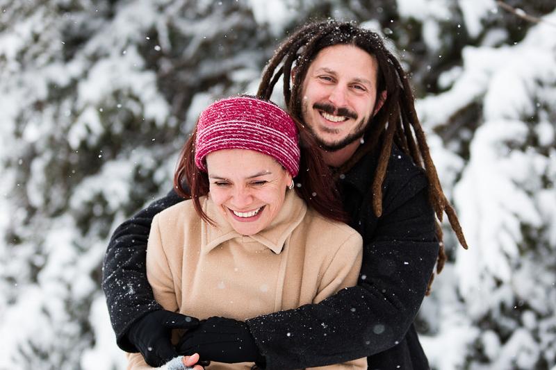winter portrait ideas, man hugging woman, ©Megan Rei Photography | Northern Virginia wedding photographer