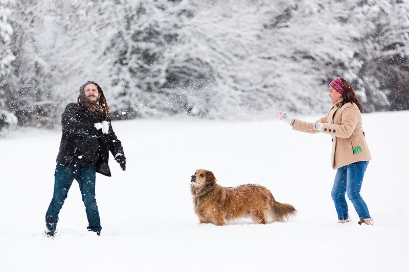 couple and their dog playing in the snow | ©Megan Rei Photography | dog-friendly family portraits, Bealeton, VA