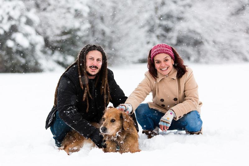 couple and their dog in the snow | ©Megan Rei Photography | dog-friendly family portraits, Bealeton, VA
