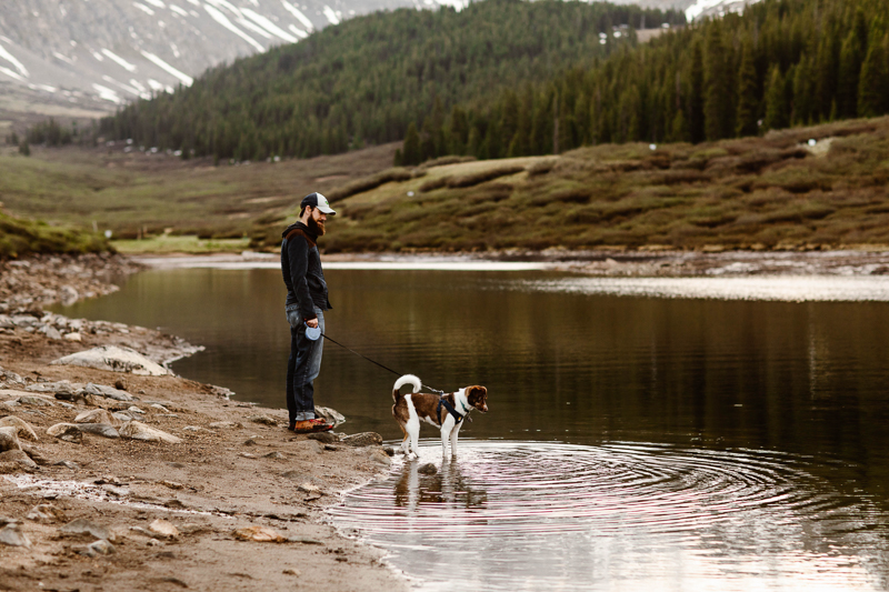 dog standing in fresh water lake or stream, mountains in background | ©Sheena Shahangian Photography