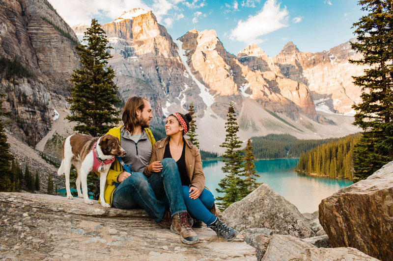 mixed breed pup and humans, gorgeous location mountains and lake | ©Sheena Shahangian Photography | Adventure Elopement Photography