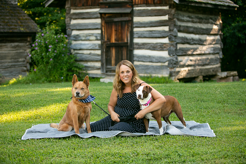 woman and her rescue dogs sitting on a blanket, Ellington Agriculture Center, ©Mandy Whitley Photography