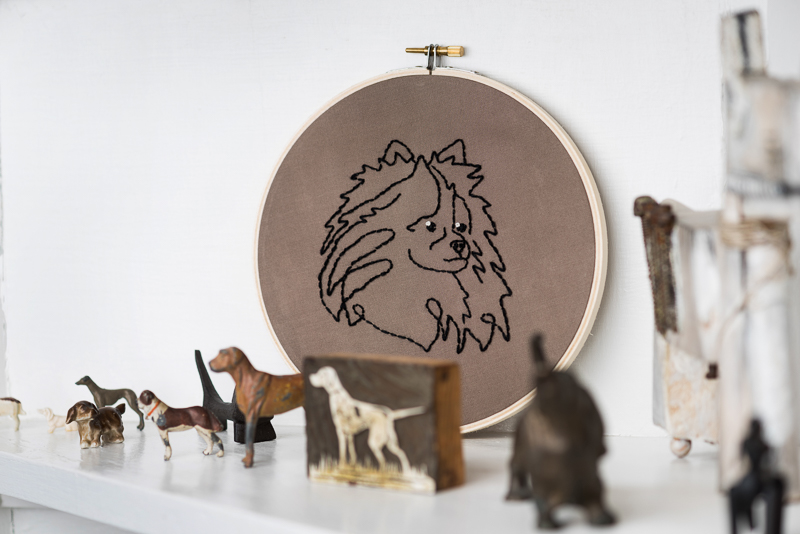 Pomeranian Embroidery Art, dog portrait, Etsy Fiber Artist,