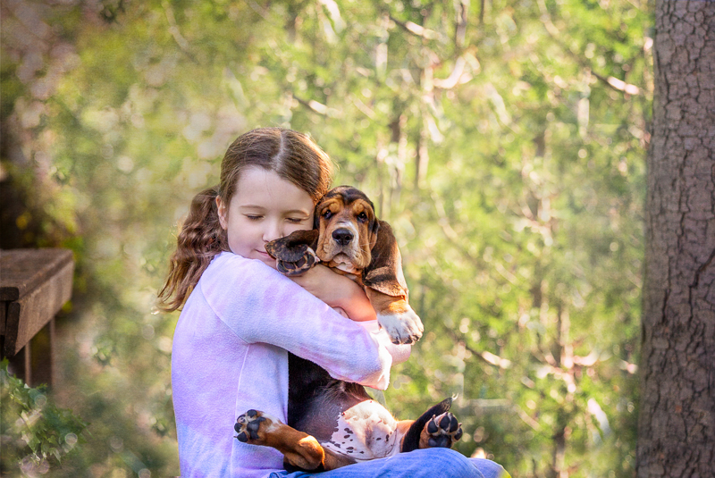 girl hugging her Bassett Hound puppy, love between dogs and kids | ©Terri J Photography