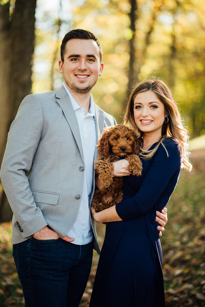 """dog-friendly engagement portraits, couple wearing """"date night"""" outfits and their puppy, ©Celladora Photography + Video"""