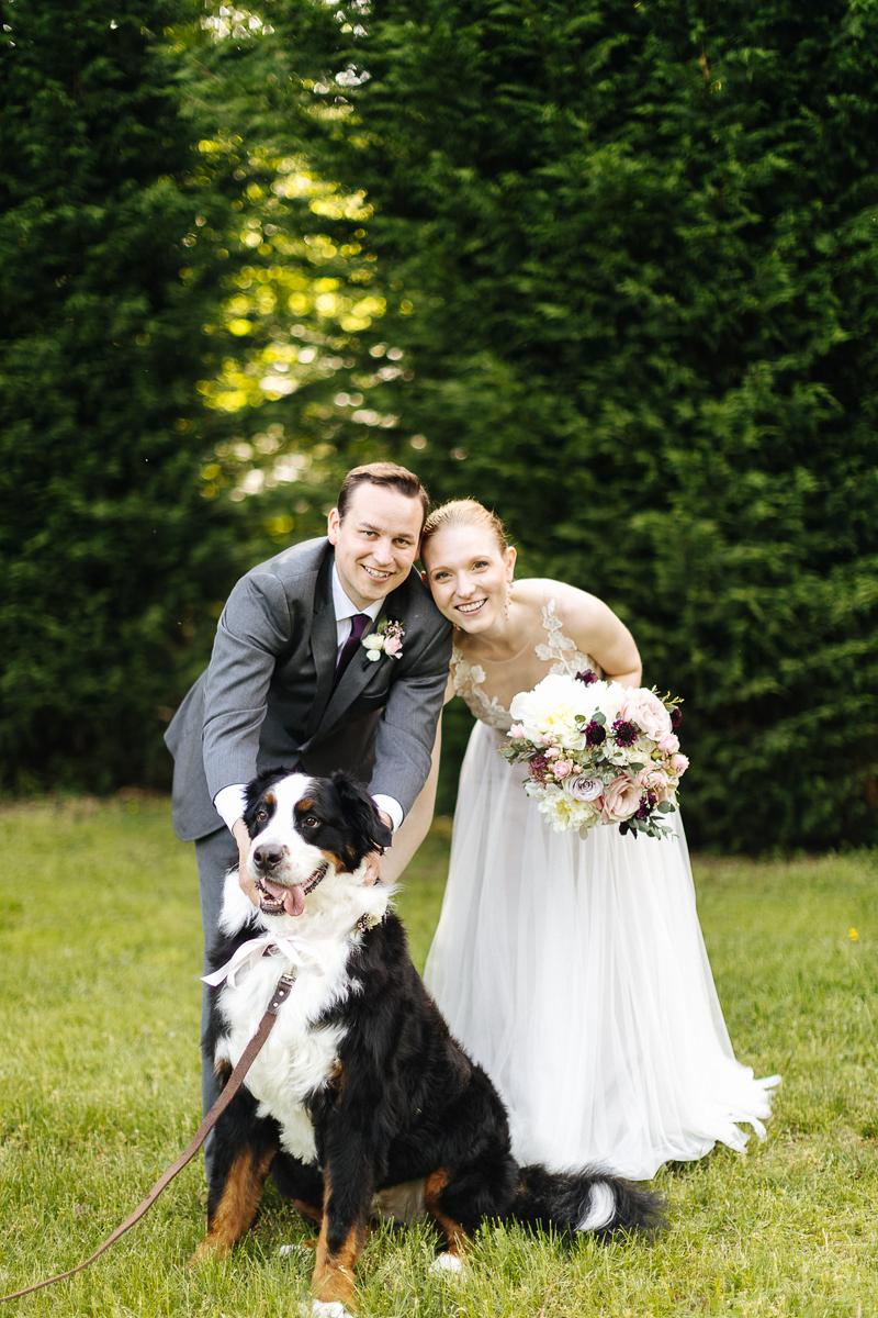bride, groom, and dog wedding portraits   ©J Tobiason Photography summery sunny PNW wedding