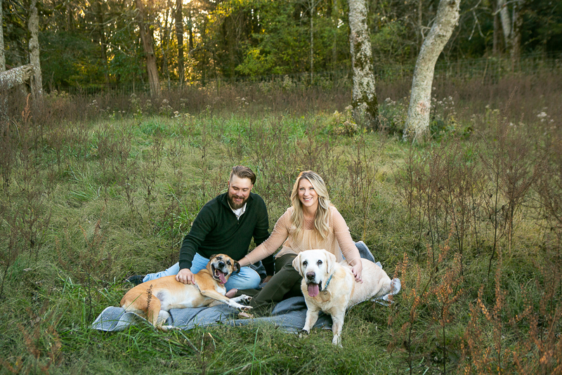 dog-friendly family portraits ,couple and their dogs on a blanket College Grove, TN   ©Mandy Whitley Photography