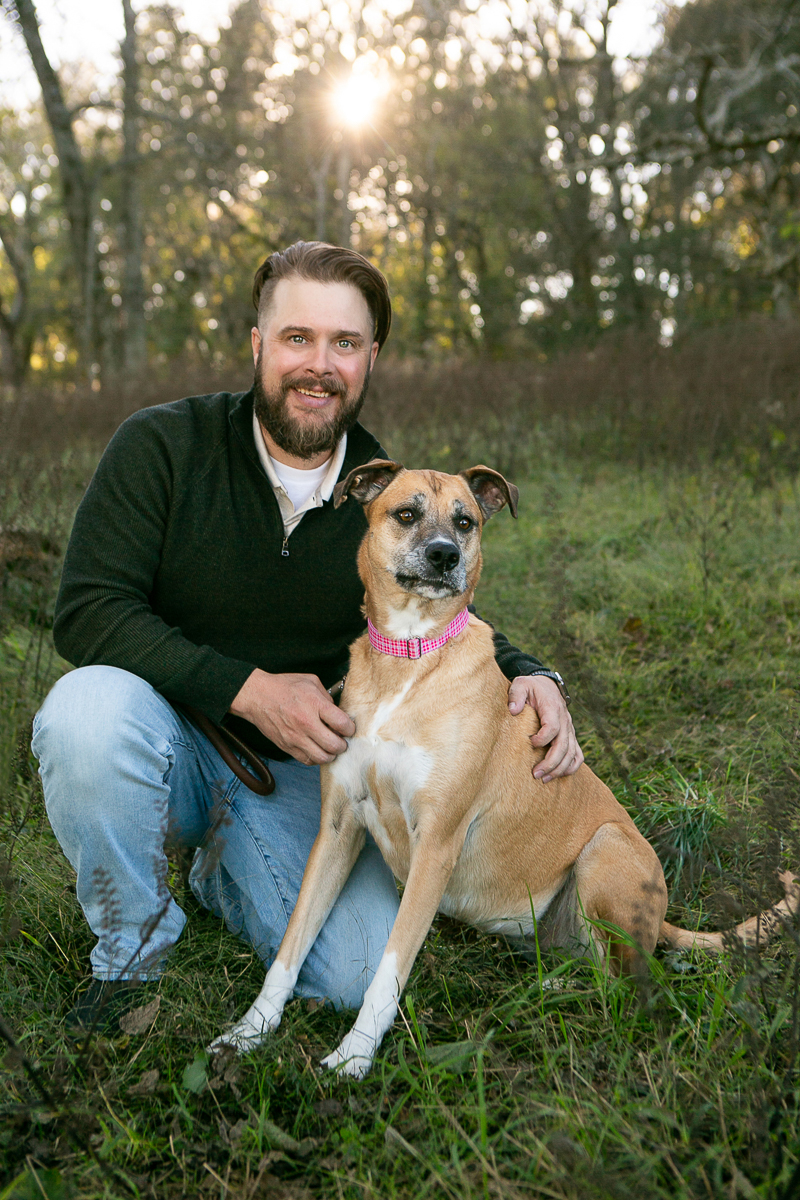 fall dog photography ideas, man and Boxer mix   ©Mandy Whitley Photography