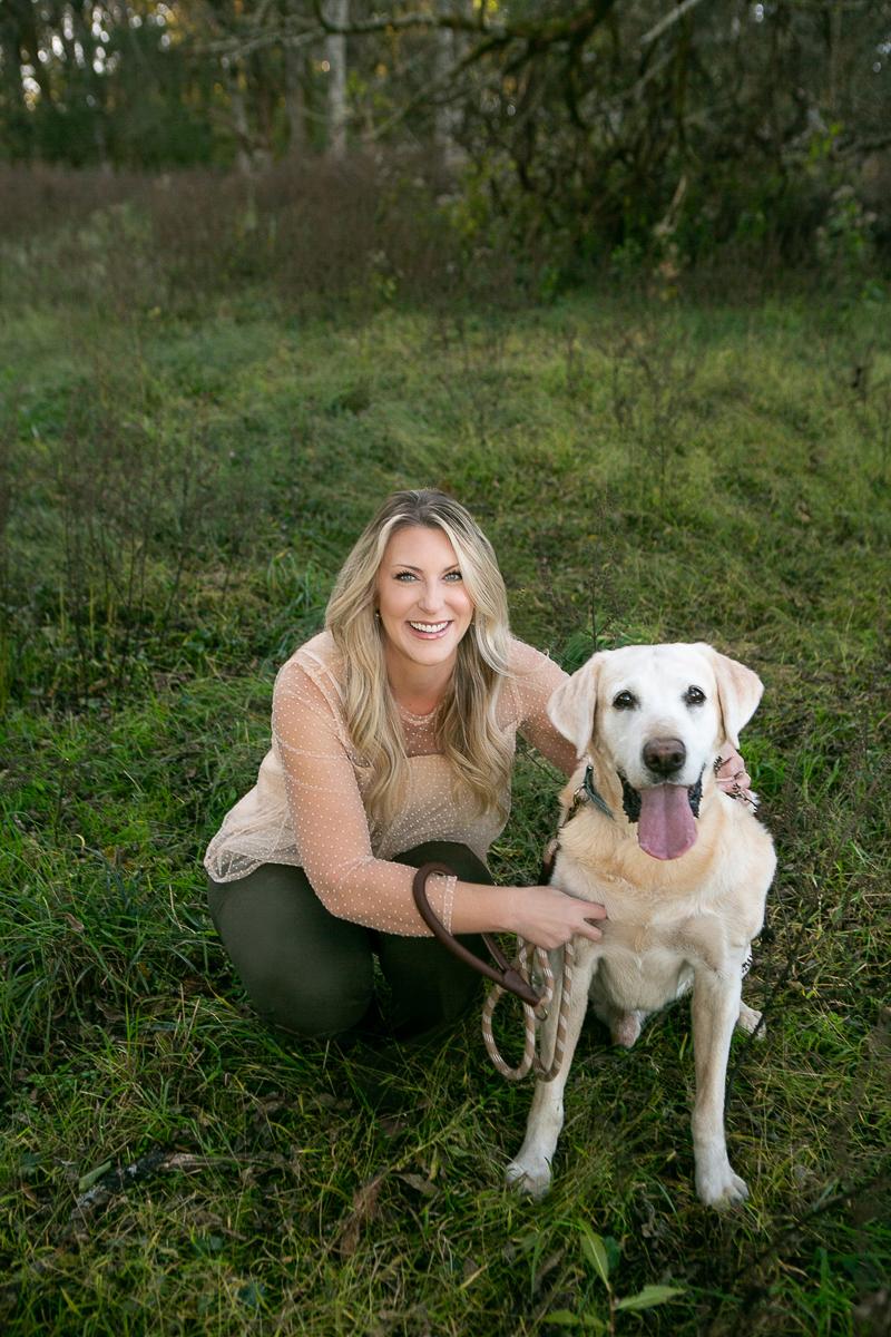woman and senior Yellow Labrador Retriever   ©Mandy Whitley Photography, College Grove, TN
