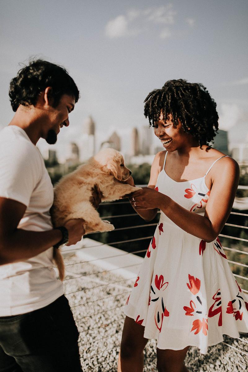 couple and young puppy, | ©Sheena Shahangian Photography, Atlanta