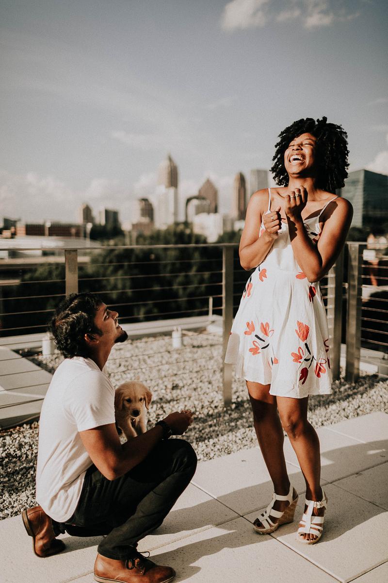 rooftop proposal photos, ©Sheena Shahangian Photography, Atlanta, GA
