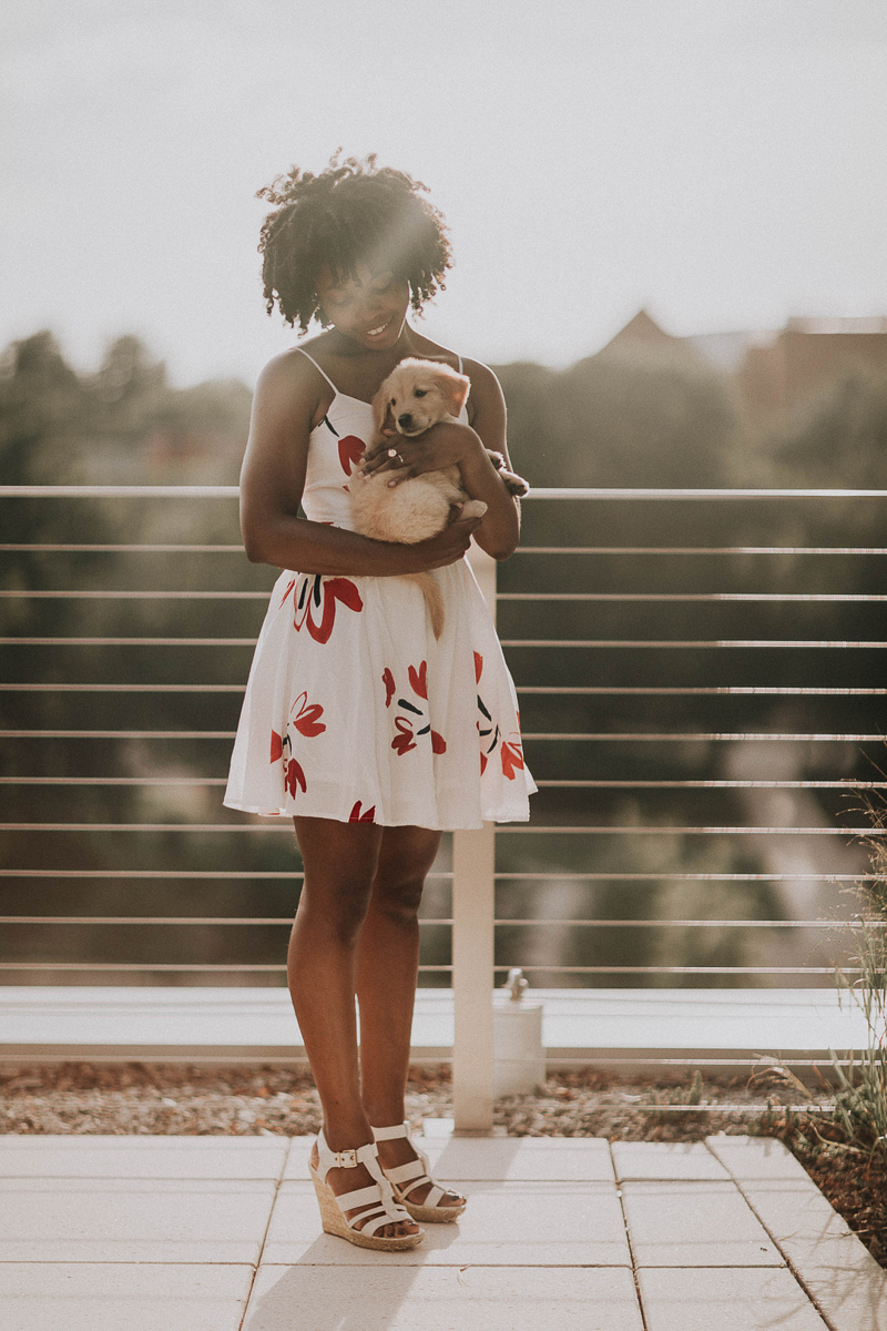 woman wearing white and red dress holding puppy on rooftop, ©Sheena Shahangian Photography