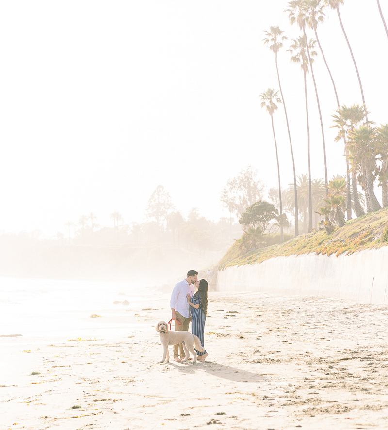 couple kissing while dog looks towards camera   Butterfly Beach engagement session   © Fig + Willows Studio