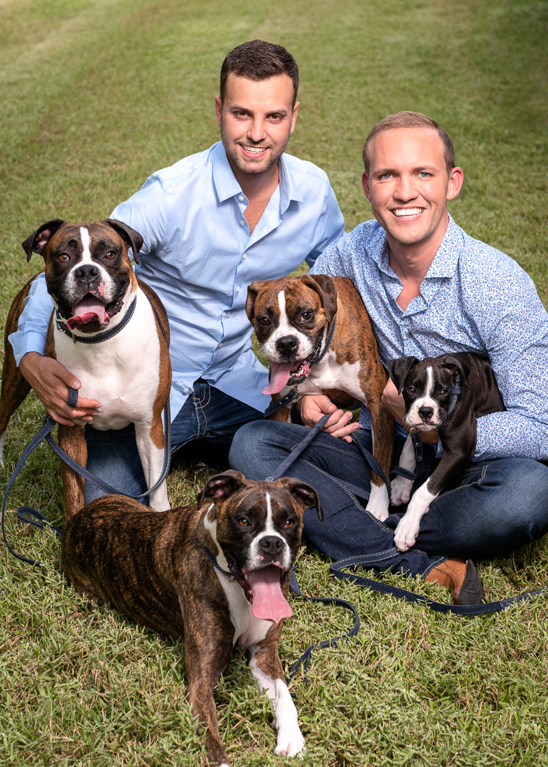 dog-friendly family portraits with Boxers | ©Melonhead Photography, Houston, Texas wedding photographer
