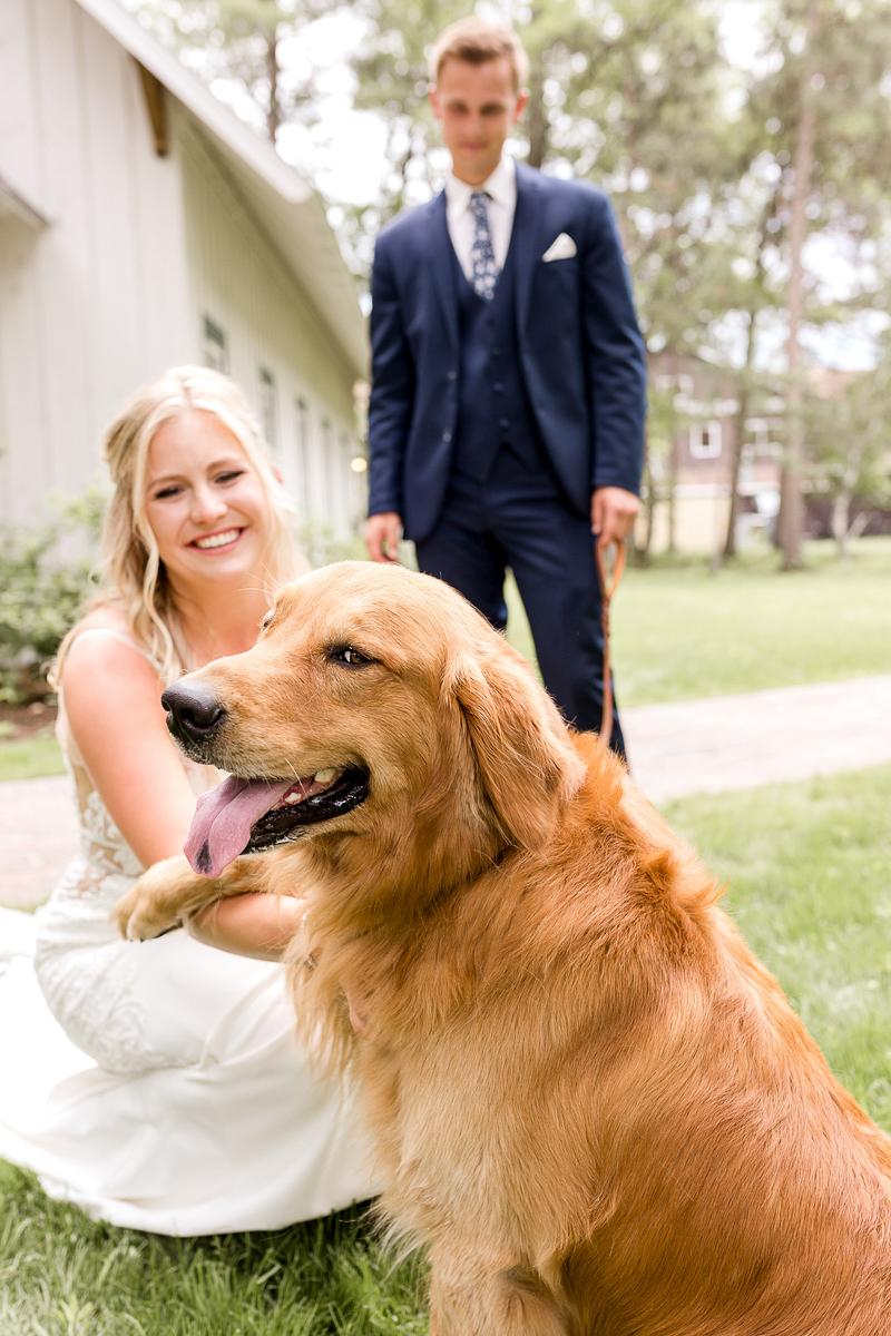 dog-friendly wedding ideas, Golden Retriever hamming it up for the photographer, ©Alexandra Robyn Photo + Design
