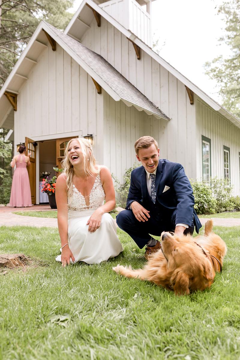 just married couple and their Golden Retriever, Brainerd, MN | ©Alexandra Robyn Photo + Design