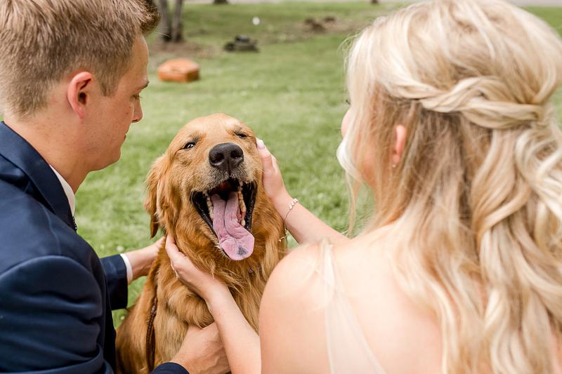 couple petting their Golden Retriever, dog-friendly wedding ideas | ©Alexandra Robyn Photo + Design, Brainerd, MN