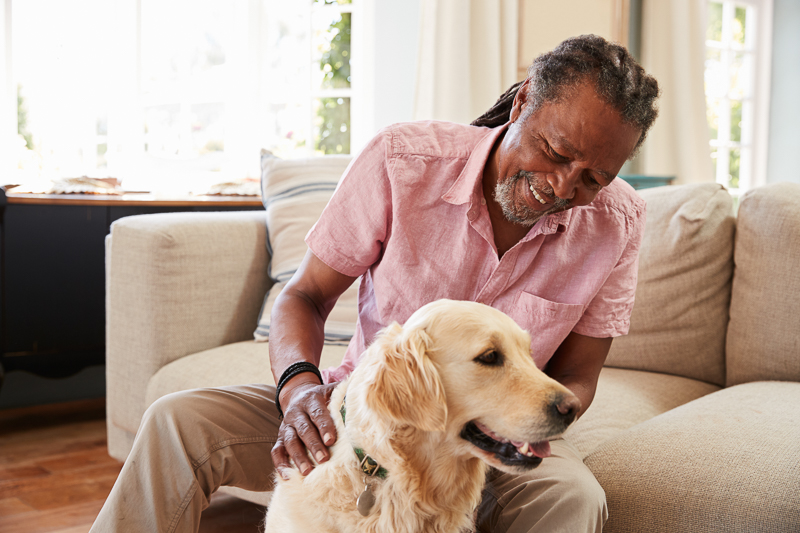senior man petting dog, dogs in assisted living