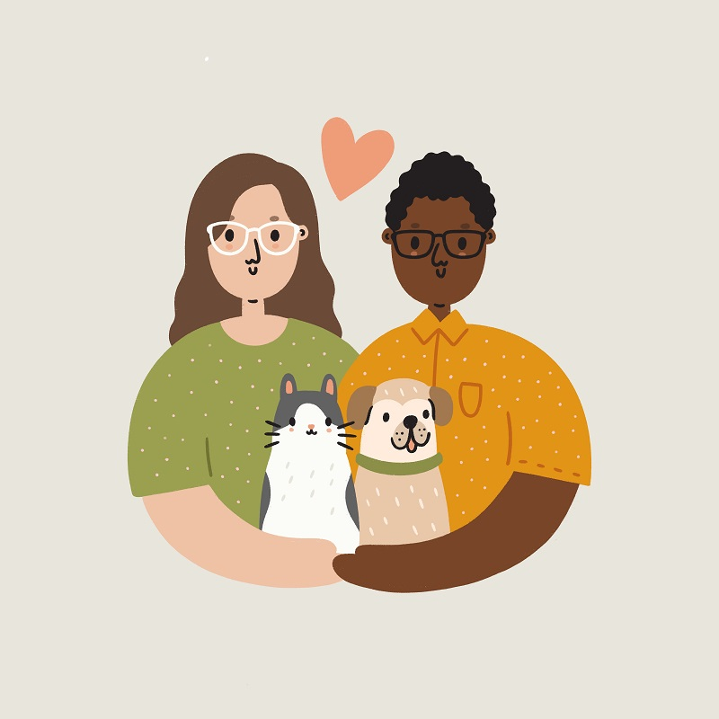 family portrait with same sex couple, dog, and cat | Courtney Ahn Design, gift ideas for dog lovers